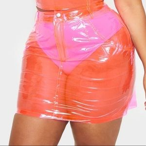 Plus Hot Pink Transparent Mini Skirt